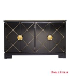 Store your goods for safe keeping in a bold black and gold cabinet with geometric diamond print. #HomeSenseStyle