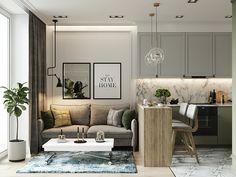 Small room design – Home Decor Interior Designs Condo Interior Design, Condo Design, Living Room Interior, Living Room Decor, House Design, Kitchen With Living Room, Living Rooms, Kitchen Decor, Flat Interior