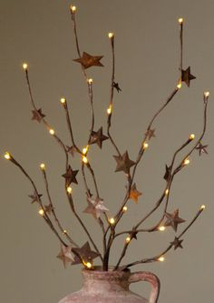 Primitive rusty star branch lights~ from Country Craft House