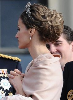 Princess Letizia of Spain attending royal wedding of Princess Victoria of Sweden and Daniel Westling.