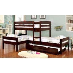 Furniture of America Tressa Espresso Corner 3-piece Twin Bunk Bed Set