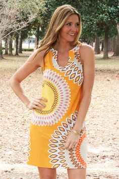 Sunrise Dress $56.00  Sunrise Dress is a bright mix of colors that will look great on anyone! Spring Dress, New Arrival, Yellow Dress, Sun Dress