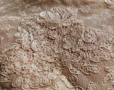Antique French Alencon Silk Lace Hand Stitched by AntiqueDelights, $25.00