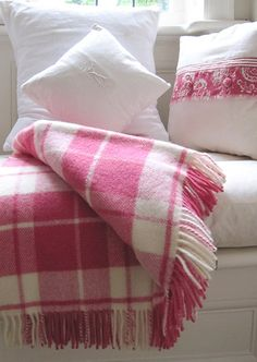 Wool throw, raspberry check.