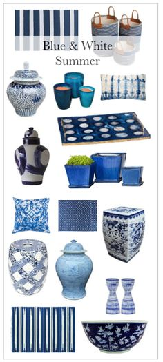 Blue and white summer home decor
