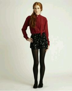Sparkly shorts and tights