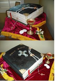 "Catholic Confirmation Cake Set Adult Catholic Confirmation Cake consisting of:Large ""tooled-leather"" family bible cake made of..."
