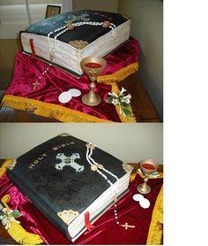 """Catholic Confirmation Cake Set Adult Catholic Confirmation Cake consisting of:Large """"tooled-leather"""" family bible cake made of. Catholic Confirmation, Confirmation Cakes, Catholic Bible, First Communion Party, Communion Cakes, Bible Cake, Leather Tooling, Tooled Leather, Pastry Art"""