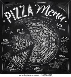 Pizza menu the names of dishes of Pizza, Hawaiian, cheese,  chicken, pepperoni and other ingredients tomato, basil, olive, cheese to design ...