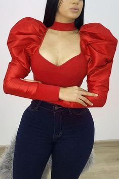 Red Blouses, Blouses For Women, Cheap Blouses, Classy Outfits, Trendy Outfits, Winter Fashion Outfits, Fashion Dresses, Fashion Pattern, African Dress