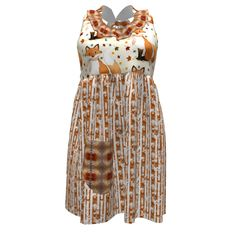 """See Kate Sew Ruffled Apron made with Spoonflower designs on Sprout Patterns. A fox and a bamboo forest, autumn shades...... The 3d view doesn't accurately reflect the placement of the design, so please, click on """"Make a copy"""