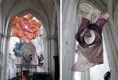 In honor of the 25th edition of the festival of classical music of St. Riquier, more than 100 of Gentenaar'sempyrean paper sculptures were on display inside the French abbey church and adjoining monastery last summer.