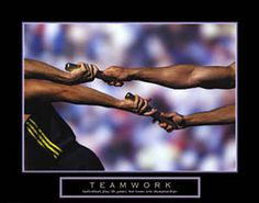 """TEAMWORK  """"Individuals win games, but teams win championships"""" Relay Running Track-and-Field Motivational Poster ~Available at www.sportsposterwarehouse.com"""