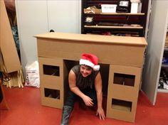 Fabriquer une fausse chemin e en carton - Fausse cheminee en carton pour noel ...