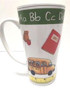 School Teacher Coffee Mug Cup Latte School Bus Crayons Ruler Alphabet White