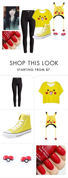 """pikachu outfit"" by mydemonshide ❤ liked on Polyvore featuring Converse, women's clothing, women, female, woman, misses and juniors"