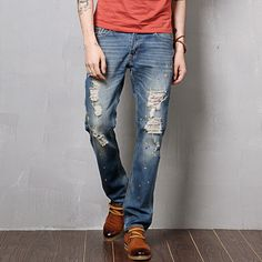 Find More Information about 2014 New Designer Brand Ripped Jeans For Men Ture Skinny Jeans Blue Waterwash Denim Pants European Style Size 28 36,High Quality designer jeans short,China design your jeans Suppliers, Cheap designer jeans for less from Men's Tribe Co.,Ltd. on Aliexpress.com