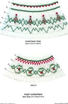 First Christmas by Ellen McCarn smocking design plate features Christmas trees and holly for bishop smocking.  Available at www.chadwickheirlooms.com