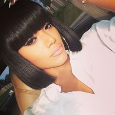 Buy Full Bangs yaki Straight Glueless Silk Top Non-Lace Bob Wig at WowEbony, Our Human hair affordable wigs are of super quality. Black Girl Bob Hairstyles, Girl Short Hair, Short Hairstyles For Women, Hairstyles With Bangs, Weave Hairstyles, Straight Hairstyles, Hairstyles 2016, Short Haircuts, Medium Hairstyles