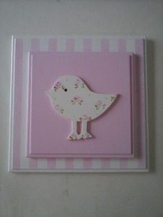 Could paint or decoupage instead of bird Wood Crafts, Diy And Crafts, Crafts For Kids, Paper Crafts, Quilling Designs, Kids Room Art, Mini Canvas, Painting For Kids, Kids Decor