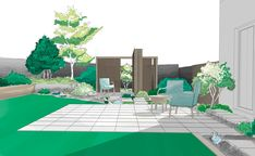Option 1 - Main patio and pergola North Hills, Garden Works, Garden On A Hill, Landscaping Work, When Things Go Wrong, Garden Maintenance, Urban Setting, Extra Rooms, Outdoor Furniture Sets