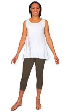 Hi-Lo Flared Back Tank Top- This top has a very roomy swing fit.Soft, lighter weight 100% Cotton Jersey. It's a modern twist on the classic tank top.