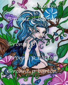 Original Fairy Art Painting ~ Magenta Bubble Pixie ~ Colored Pencil Fairy Art Illustration ~ Ronne Barton Art ORIGINAL Painting ~