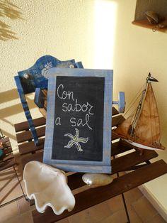 Bonitas pizarras con sabor a sal, inspiradas en el mar.  Visítanos en http://pizarrasdetiza.blogspot.com.es/ para ver más.