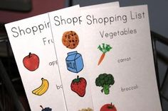 These lists were intended for pretend play, but my kids LOVE having a pictorial list so they can help with the shopping.  A laminated set of these and a white board marker would make it customisable for each trip.