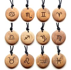 Unique men's or ladies wooden necklace. The design is burned on to the wood using pyrography. This pendant features a Zodiac sign of your choice The necklace is handmade to a high quality, making an excellent yet affordable gift idea. Wood Burning Crafts, Wood Burning Patterns, Wood Burning Art, Astrology Numerology, Aquarius Astrology, Pisces Sign, Astrology Signs, Capricorn, Wooden Necklace