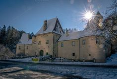 Magic winter castle by ChristianThür Photography on Creative Market Architecture Board, Castle, Around The Worlds, Magic, Mansions, House Styles, Building, December 4, Winter