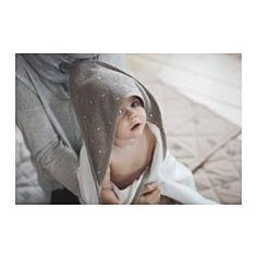 ÄLSKAD Baby towel with hood, white, beige - white/beige - IKEA Ikea Portugal, Baby Baden, Nursery Layout, Nursery Ideas, Ikea Shopping, Small Nurseries, Rabbit Baby, Boho Nursery, Nursery Rugs