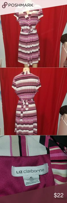 Liz Claiborne Pink Stripe Dress, size xl Great every day dress or for special occasions. Previously owned, no stains, tears or defects. Liz Claiborne Dresses Midi
