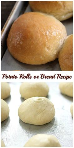 The best! Potato Rolls or Bread Recipe makes 2 loaves of soft delicious bread or the best potato rolls you'll ever make. Bread Machine Recipes, Easy Bread Recipes, Baking Recipes, Dessert Recipes, Desserts, Appetizer Recipes, Sweet Recipes, Healthy Recipes, Cooking Bread