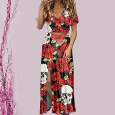 Skull Pattern Flower Prints Women's Long Elegant Top & Skirt 13 Patterns #skulldresses #skullclothing #womensclothing Flower Patterns, Pattern Flower, Flower Prints, Wrap Dress, Neckline, Clothes For Women, Women's Dresses, Elegant, My Style