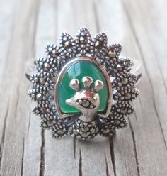 925 Sterling Silver Green Onyx Marcasite Ring | pavlos - Jewelry on ArtFire