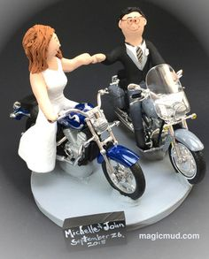 Harley Davidson Motorcycles Wedding Cake Topper Custom Made To Your Specifications Just For
