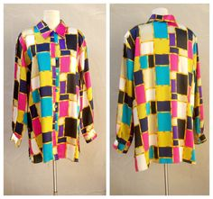 Bold Mondrian blouse / 80s satiny colorblock button up shirt / super fun / XLarge by dahlilafound, $34.00