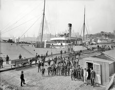 "Circa 1905. ""Payday for the stevedores. Baltimore, Maryland."" 8x10 inch dry…"