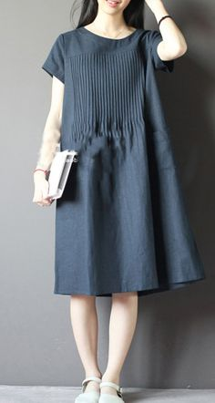 Never get lost. Blue oversize sundress plus size linen shirt dresses