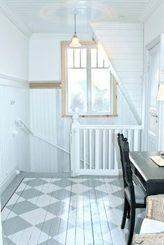 Ah those planked walls, painted white. And Love the painted floor too.