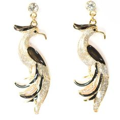 Black and Silver Color  Bird Earring