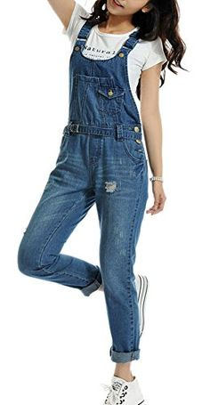 66881a3638df Youtobin Womens Summer Destroyed Romper Jeans Jumpsuit Overall XL Dark blue    For more information