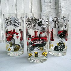 Set of 6 Vintage 1950s Casino Gambling Drinking  for Game Night on Etsy, $55.00