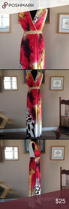 Boston Proper Maxi Dress Beautiful print Boston Proper maxi dress. There are a couple of spots around the middle and where the stitching is loose but would be an easy fix if you know how to sew. Has a side zip Under right arm area and a side slit in the left leg. Boston Proper Dresses Maxi