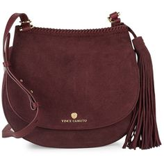 Vince Camuto Tasseled Leather Saddle Bag ($130) ❤ liked on Polyvore featuring bags, handbags, shoulder bags, red purse, red leather purse, hand bags, red leather handbags and saddle bags