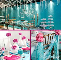 Azul Tiffany com Rosa