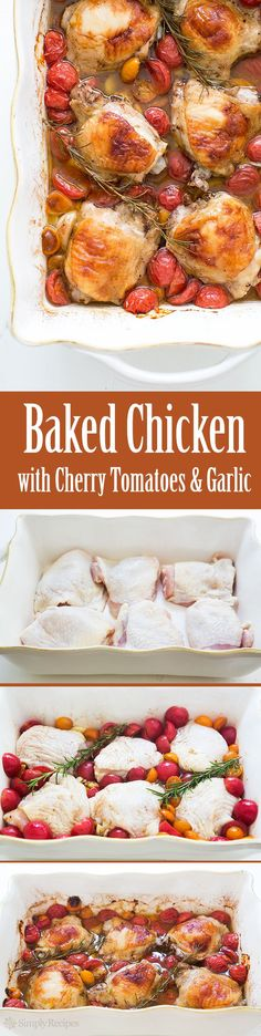 Quick And Easy Chicken Thighs Baked With Cherry Tomatoes, Garlic, And Rosemary. Simple On The Budget Too Only 10 Minutes Of Hands On Time. Get The Recipe At Garlic Recipes, Paleo Recipes, New Recipes, Chicken Recipes, Dinner Recipes, Cooking Recipes, Favorite Recipes, Dinner Ideas, Chicken Marinades