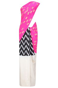 Pink and ivory horse print and chevron ikat saree with moor khadee blouse piece available only at Pernia's Pop Up Shop.