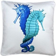 Pillow Decor Capri Entwined Seahorses Throw Pillow 20x20 ($87) ❤ liked on Polyvore